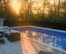 Sunset over modern pool in Ottawa