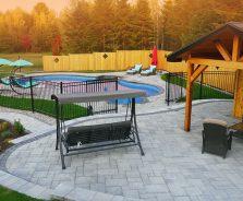 Luxury backyard patio and pool house