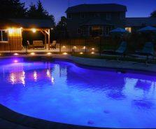 Luxury pool house lighting at night