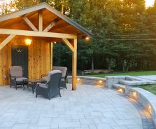 Landscape lighting for luxury shed and patio in Ottawa